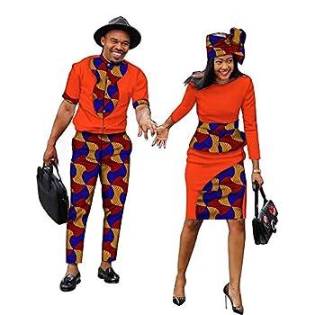 African Couple Clothing Women Dresses or Men Clothing Set Dashiki Shirts Ankara Pants Party Wedding Casual Wear 543 Mens/USS