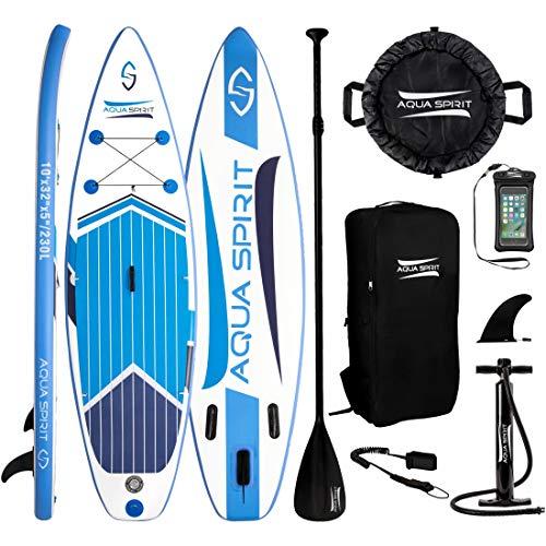 AQUA SPIRIT 300x80x12.5cm ISUP Tavola da SUP Stand Up Paddle Board Gonfiabile Livello Principiante e Intermedio Kit con Pagaia Regolabile in Alluminio, Max; Paddler Peso: 115KG