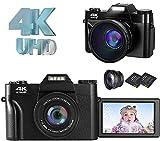 デジタルカメラ コンパクト 4K デジカメ YouTubeカメラ Vloggingカメラ ウェブカメラ 30FPS 4800万画素数 16倍デジタルズーム 反転スクリーン スクリーンマークキャンセル可 フィルライト HDMI出力 128GBマイクロSDカード対応 別売り