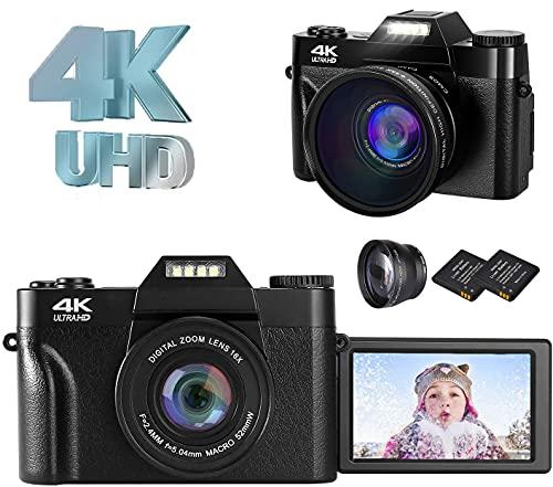デジタルカメラ コンパクト 4K デジカメ YouTubeカメラ Vloggingカメラ ウェブカメラ 30FPS 4800万画素数 16倍デジタルズーム 反転スクリーン スクリーンマークキャンセル可 フィルライト HDMI出力 128GBマイクロSDカード対応(別売り)