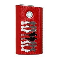 glo グロー グロウ 専用 レザーケース レザーカバー タバコ ケース カバー 合皮 ハードケース カバー 収納 デザイン 革 皮 RED レッド ユニーク 人物 シンプル 002604