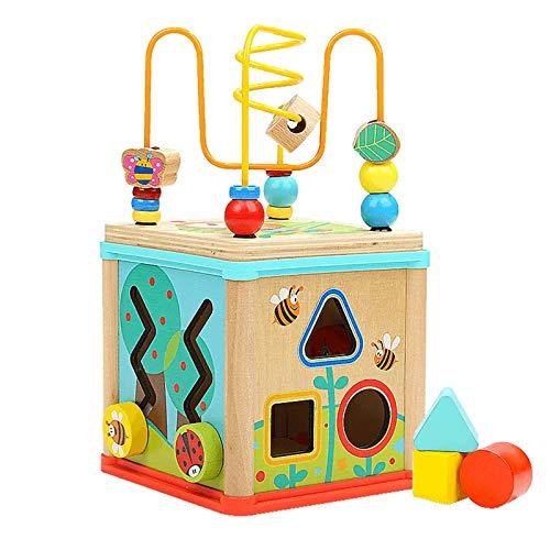 GFBVC Cubo Activo Actividad de Madera Cube Aprendizaje Toys Bead MAZLE Toy Toy Regalo F para BOTOS NIÑAS O NIÑOS Juguetes Educativos (Color : Multi-Colored, Size : One Size)