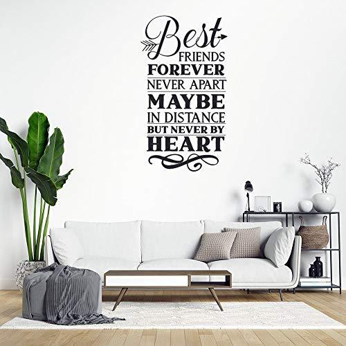 Anyuwerw - Adhesivos decorativos para pared, diseño de texto en inglés 'Best Friends Forever Never Apar', color negro