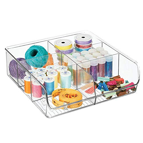 mDesign Organizador de cajones abierto para material de costura y artículos de mercería – Práctica caja organizadora con 6 compartimentos – Bandeja de plástico para cajones y armarios – transparente