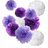 18pcs Tissue Hanging Paper Pom-poms, Hmxpls Flower Ball Wedding Party Outdoor Decoration Premium Tissue Paper Pom Pom Flowers Craft Kit (Purple & White, 8'/ 10'/ 12'