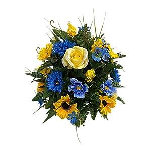 Blu, Yellow Cemetery Flower Arrangement, Headstone Vase Insert, Grave Vase Cone Arrangement , Cone Insert, Tombstone vase Arrangement, Cemetery Flowers C4042