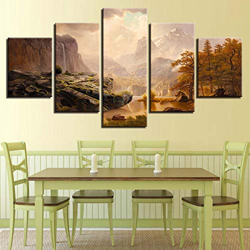 LPHMMD 5 canvas paintings Printed Modern HD Canvas Pictures 5 Pieces Alpine Sunshine Scenery Painting Poster Wall Art Decor Living Room Home-30x50cm 30x70cm 30x80cm
