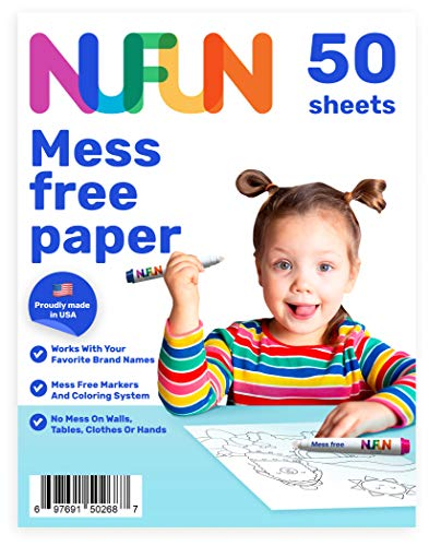 NuFun Activities Mess Free Paper - Kids Create No Mess Wonders with Special Coloring Paper, Gift for Kids, 50 Blank Pages