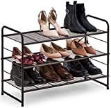 Auledio 3-Tier Shoe Rack, Stackable and Adjustable Multi-Function Wire Grid Shoe Organizer Storage, Extra Large Capacity, Space Saving, Fits Boots, High Heels, Slippers and More (Bronze)