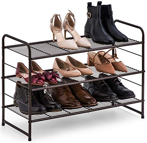 Auledio 3-Tier Shoe Rack, Stackable and Adjustable Multi-Function Wire Grid Shoe Organizer Storage,...