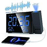 Radiosveglia Con Proiettore, Sveglia Digitale LED a Grande Schermo Con Ricaricare USB, Radio FM, Proiettore Ruotabile di 180 °, Temperatura e Umidità, 2 Sveglie, Funzione Snooze, 12/24 Ore