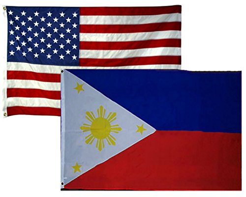 MWS 2'x3' Wholesale 2 Flag Combo USA American & Philippines Super Polyester Nylon Flags 2X3 ft (60 X 90 cm) House Banner Grommets Double Stitched Fade Resistant Premium Quality