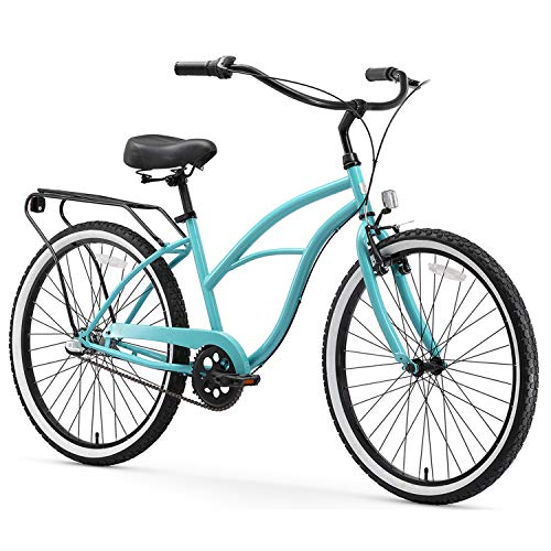 "sixthreezero Around The Block Women's 3-Speed Beach Cruiser Bicycle, 24"" Wheels, Teal Blue with Black Seat and Grips"