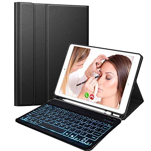 N/B Teclado Inalámbrico para iPad, 9.7 iPad Teclado Funda Portalápices de Apple Incorporado, Bluetooth Teclado Tablet con 7...