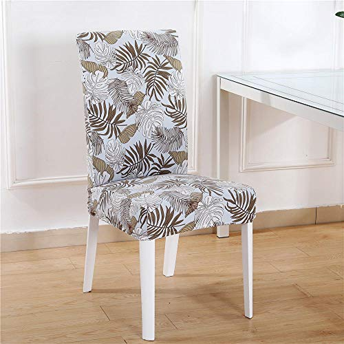 Dining Chair Covers Set of 6 Light Blue Brown Leaves Chair Covers Spandex Stretch Removable Washable Modern Dining Chair Covers,Dining Room Chair Covers with Elastic Band