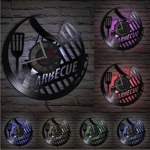 XYVXJ Barbacoa Salchicha Picnic al Aire Libre Disco de Vinilo Reloj de Pared Barbacoa Parrilla Logo decoración del hogar Barbacoa Reloj de Pared Hornear Regalo de los Amantes