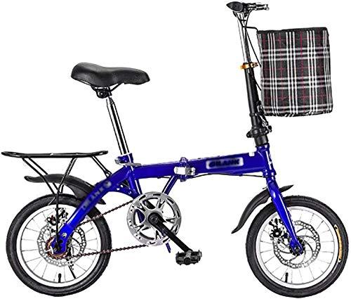 Bicicleta plegable de 16 pulgadas para hombre y mujer, bicicleta plegable y plegable de ciudad, mini bicicleta compacta, bicicleta urbana, viajero adulto, color azul