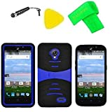 Hybrid w Kickstand Cover Case Phone + Screen Protector + Extreme Band + Stylus Pen + Screen Protector + Pry Tool For Straight Talk Tracfone NET10 ZTE Allstar Z818L Z818G (S-Hybrid Black Blue)