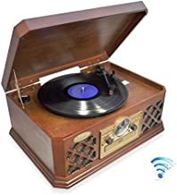 Bluetooth Compatible Classic Vintage Turntable – Retro Vinyl Wood Record Player..