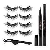 Lanflower Eyeliner and Lashes, 3D Faux Mink Lashes kit 4 Pairs, Waterproof Self - Adhesive Eyeliner Set