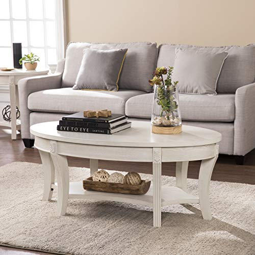 SEI Furniture Laverly Traditional Oval, Coffee Table, Distressed Whitewash