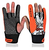 Aisence Bowling Gloves Silicone Anti-Skid Wrist Support Left and Right Hand Gloves for Sports Fitness Gym (Green, L)