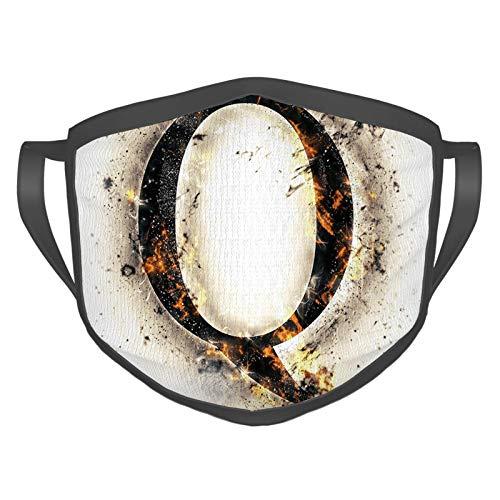 Cómoda máscara resistente al viento, palabras en llamas, estilo gótico, nombres influyentes de fuego nebuloso destacado alfabeto, decoraciones faciales impresas para adultos