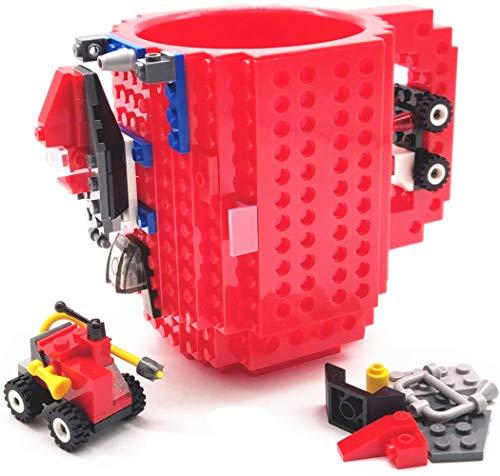 HUISEHNG Build on Brick Tasse, Building Mug Becher, Ostern Vatertag Geburtstag Einschulung Weihnachtengeschenk Idee, Geschenk für Männer Frauen Ihn Kinder Papa Junge, Kompatibel für Lego (Rot)