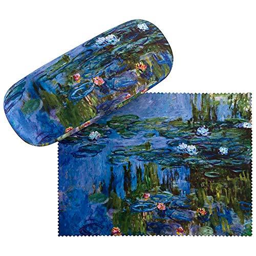 VON LILIENFELD Brillenetui Claude Monet: Seerosen Blumen Brillenputztuch Brillenbox Stabiles Hardcase Set mit Putztuch