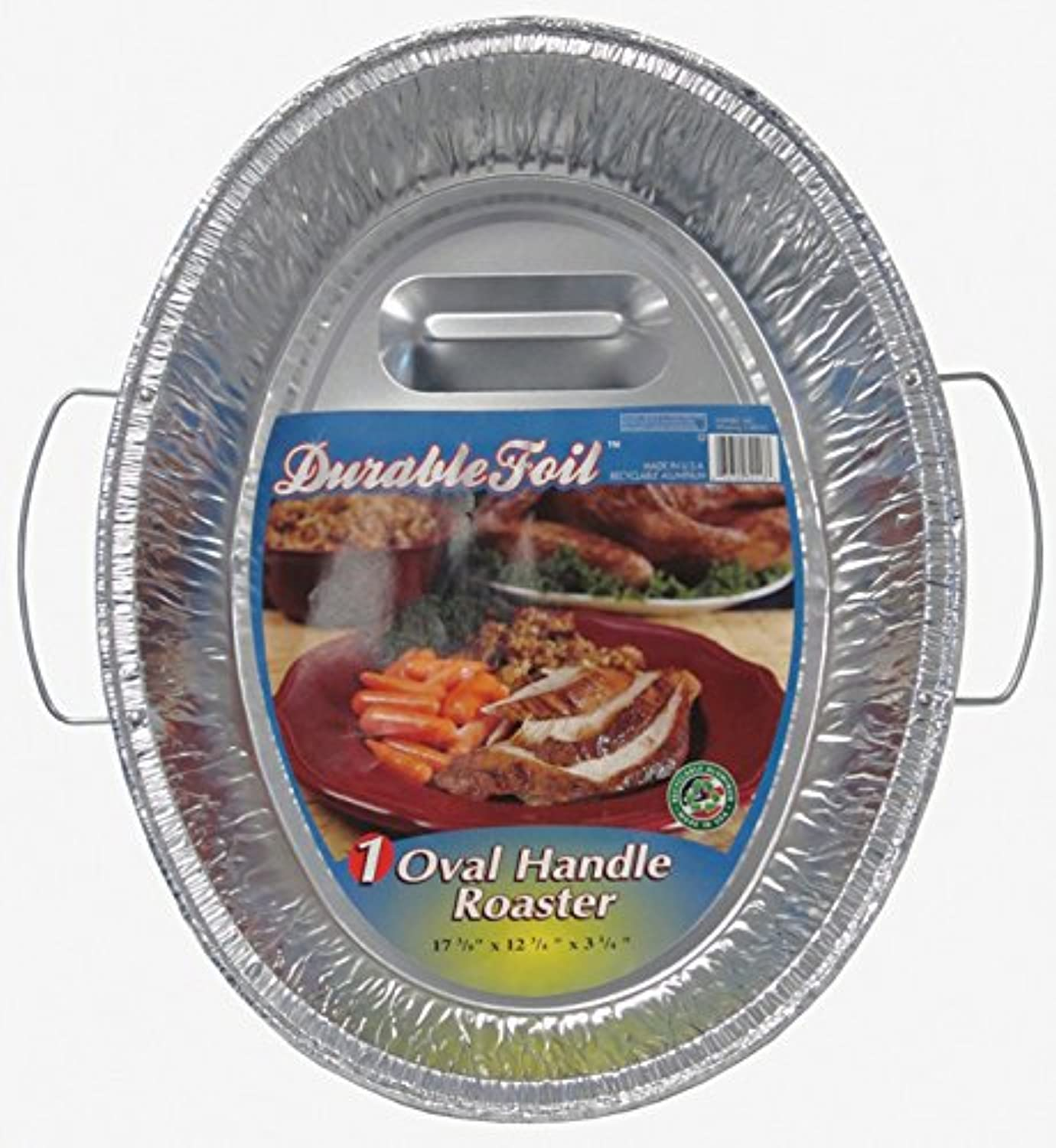 Durable Foil Oval Handle Aluminum Roasting Pan, X-Large, 8-1 2  x 14  x 3-3 8  (Pack of 12)