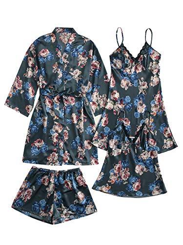 WDIRARA Conjunto de pijama de 4 piezas de satén con encaje floral y túnica para mujer, Azul (Blue Ashes), M