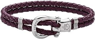 PAUL HEWITT Manille Bracelet Femme PHINITY - Bracelet en Cuir Femmes (Violet foncé), Bracelet Femme avec Manille Fermoir e...