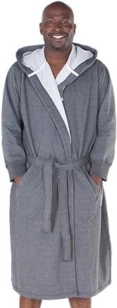 Del Rossa Mens Cotton Robe, Sweatshirt Style Hooded Bathrobe