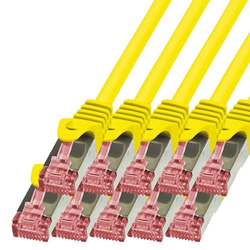 BIGtec - 10 Stück - 1,5m Netzwerkkabel Patchkabel Ethernet LAN DSL Patch Kabel Gigabit gelb (2X RJ-45 Anschluß, CAT6, doppelt geschirmt) 1,5 Meter