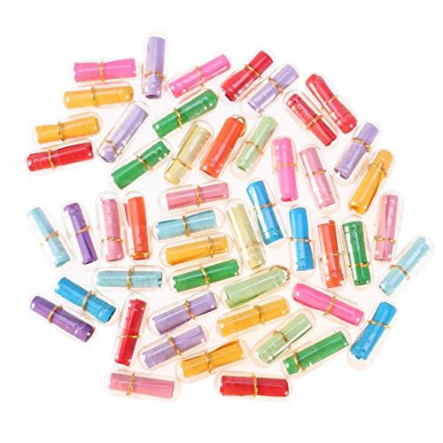 EXCEART 50 Botellas de Plástico para Deseos Encantadoras Botellas de Mensaje de Cápsula en Forma de Mini Píldora para Decoración de Bodas Regalos de Fiesta (Botella Transparente Colores