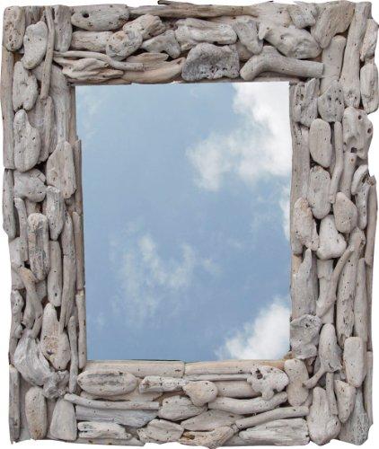 Guru-Shop Drijfhout Spiegel, Decoratie Spiegel met Stukken Drijfhout in Lijst - 60x50 cm Wandspiegel, Spiegels