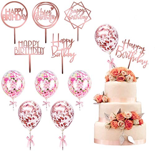 kortes 12 Pack Rose Gold Birthday Cake Topper Set, 6 Pattens Acrylic Cake Topper with 6 Pcs Confetti Balloon Happy Birthday Cake Topper Cake Decoration Supplies