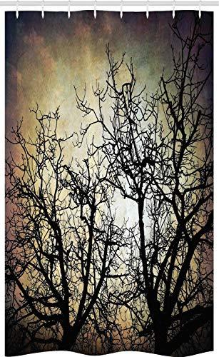 ABAKUHAUS Grusel Schmaler Duschvorhang, Grunge Zweige Twilight, Badezimmer Deko Set aus Stoff mit Haken, 120 x 180 cm, Sepia Schwarz