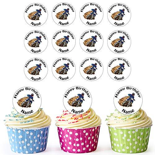 Motocross 24 Personalisierte Vorgeschnittene Kreise - Essbare Cupcake Aufleger / Geburtstagskuchen Dekorationen
