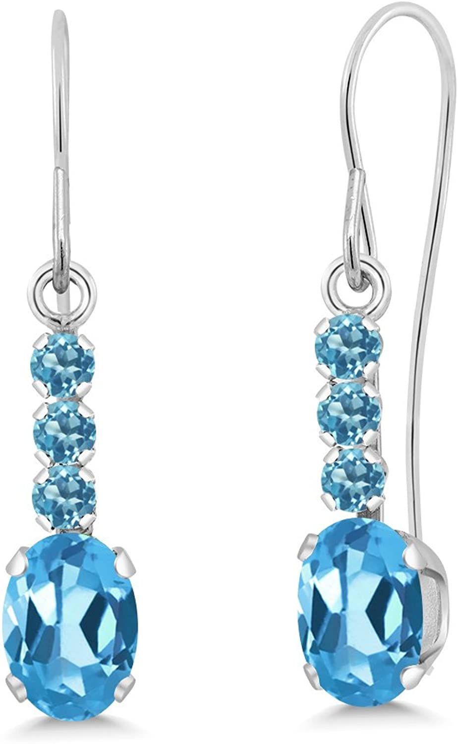 1.40 Ct Oval Swiss bluee Topaz and Simulated Topaz 10K White gold Earrings