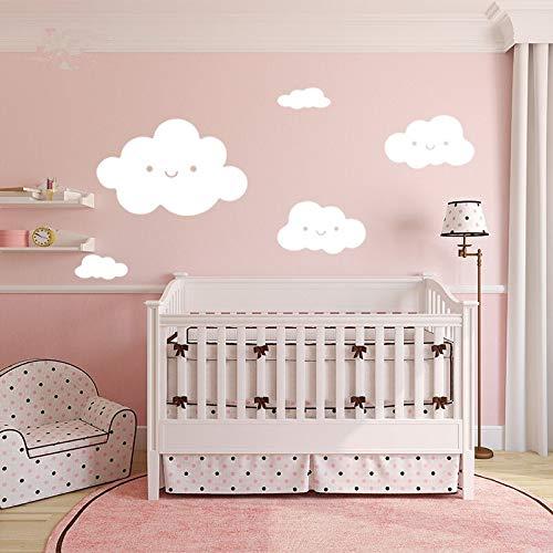 Nuvens brancas adesivos de parede do bebê papel de parede decoração da sua casa para o quarto dos miúdos decorativos do bebê berçário dos desenhos animados bonito adesivo