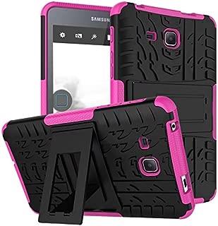 Samsung Galaxy Tab A6 7.0 2016 T280 T285 Case, BAUBEY Hybrid Rugged Armor Tough Shock Proof Hard Tire Tread Rubber Case Cover Stand for Samsung Galaxy Tab A6 7.0 SM-T280 SM-T285 (Hot Pink)