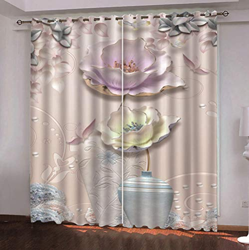 QDDRL gordijnen voor ramen, woonkamer, ondoorzichtig, ondoorzichtig, geïsoleerd, waterdicht, met oogjes voor de slaapkamer, 2 panelen, bloemenpatroon, roze