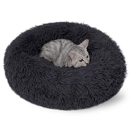 DanceWhale Rund Hundebett Flauschig Katzenbett Waschbar Hundekissen Weiches Plüsch Donut Haustierbett für Katzen Hunde (50cm, Dunkelgrau)