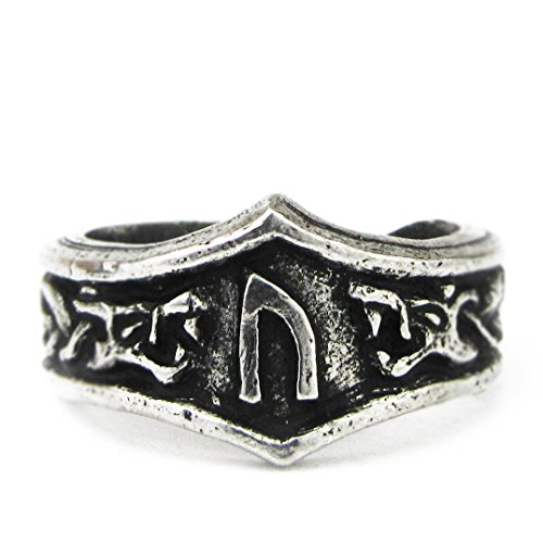 Asgard - Unisex Viking Pewter Adjustable Runic Ring (U/V - Uruz)