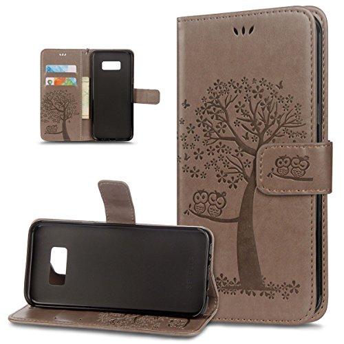 ikasus Coque Galaxy S6 Etui Motif relief d'arbre deux hiboux Cuir PU Housse Etui Coque Portefeuille supporter Carte de crédit Poches Flip Case Etui Housse Coque pour Galaxy S6,Gris