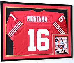 XL Double Matted Custom Framed Jersey Display Case Frame w/98% UV Protection (Black Wood Finish, Black Background)