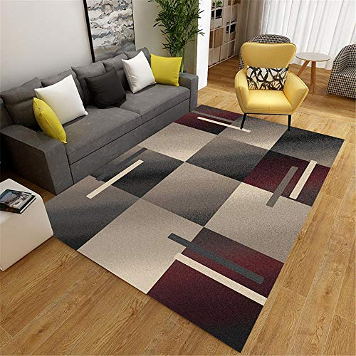 Rugs And Carpets Soft carpet modern style bedroom carpet gray red geometric square pattern Small Carpet Rug Bedroom grey 80X120CM