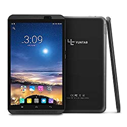 YUNTAB 8 inch Android Tablet, 4G Unlocked Smartphone, Support Dual SIM Cards, 2GB RAM 16GB ROM, 64 bit Quad Core CPU, IPS Touch Screen, Supports WiFi, Dual Camera(Black)