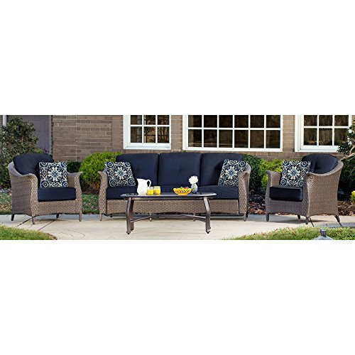 Hanover GRAMERCY4PC-NVY Outdoor Furniture Gramercy 4-Piece Wicker, Navy Blue Patio Seating Set